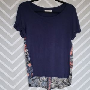 Honey Punch Blue/Floral Flowey Top